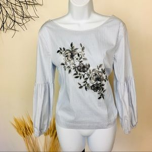 Balloon sleeve floral embroidery stripe work top